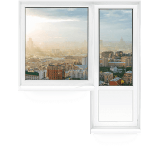 балконный блок (пластиковое окно + дверь)